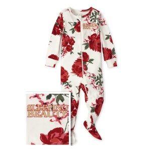 Baby Girl 0-3 mos Red Rose Sleeping Beauty Onesie